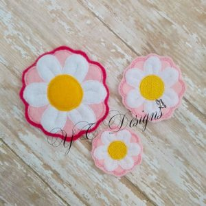 Daisy Flower 3D Digital machine embroidery feltie file in multiple sizes