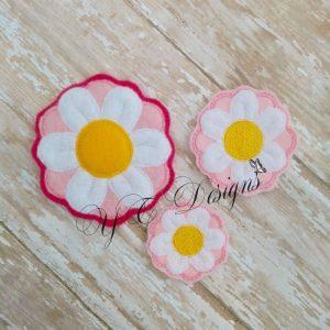 Daisy Flower 3D Digital machine embroidery feltie file in multiple sizes
