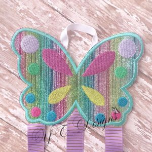 Butterfly Mandy Klippie Clippie Clip Hairbow Keeper Machine Embroidery file