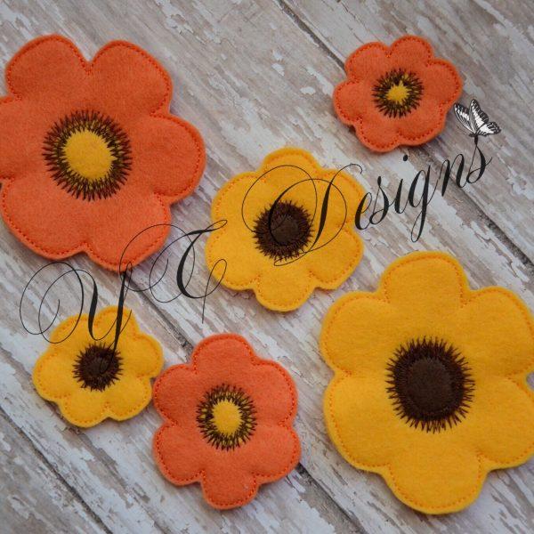 Daisy Flower 2 Digital machine embroidery feltie file in multiple sizes