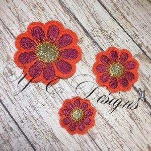 Daisy Flower 1 Digital machine embroidery feltie file in multiple sizes