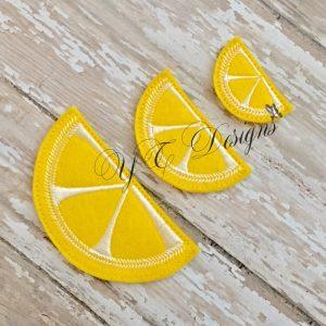 Lemon Sliver digital machine embroidery feltie File in multiple sizes