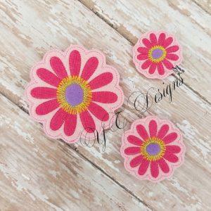 Flower 3 Digital machine embroidery feltie file in multiple sizes