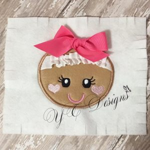 Ginger Girl Head Digital machine embroidery APPLIQUE 3D File in multiple sizes
