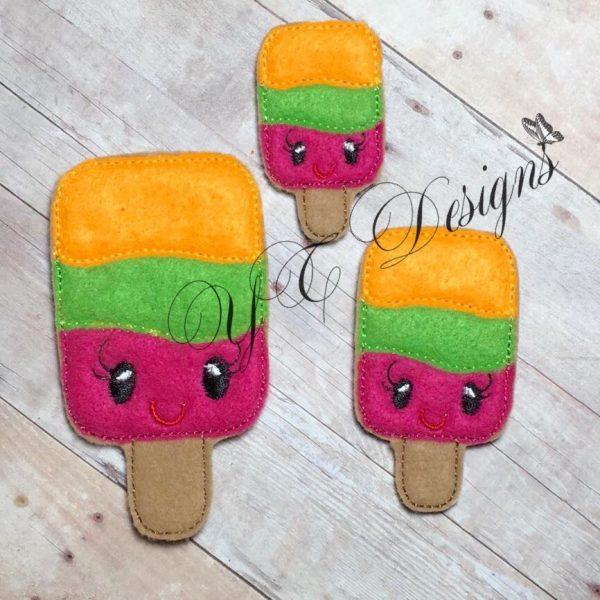 Kawaii Popsicle Digitalmachine embroidery feltie File in multiple sizes