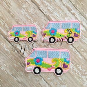 Retro Van digital machine embroidery feltie File in multiple sizes