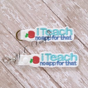 iTeach Key Fob Machine Embroidery File ~ OLDIE