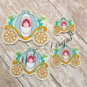 Princess Carriage feltie Machine Embroidery File multiple sizes ~Oldie