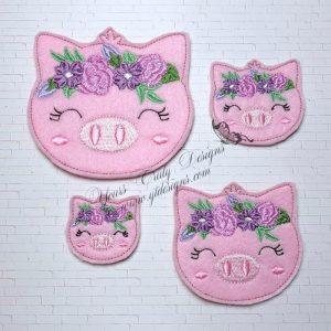 Joy Pig Head floral