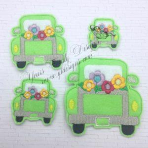 Truck flowers machine Digital machine Embroidery feltie file