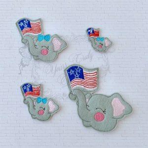 Elephant Patriotic Girl head