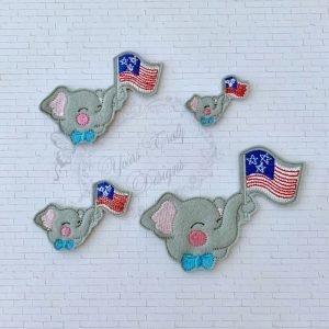 Elephant Patriotic Boy Head