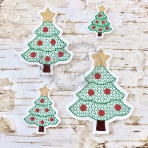 Christmas Peeker Santa tree machine Feltie Embroidery File YTD YT Designs