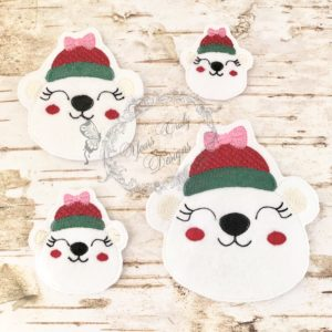 Christmas Peeker Polar Bear GIRL HEAD