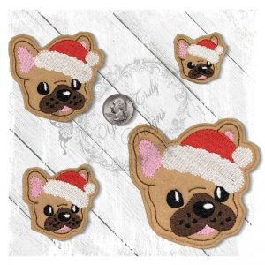 French Bullie Cutie Santa Head